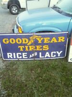 Goodyear porcelain sign 1940s 66in 28in DOUBLE SIDED