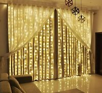 Curtain Lights LED Twinkle Lights 9.8 x 9.8ft Warm White Curtain Icicle Lights
