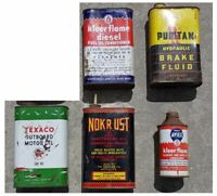 Lot 5 Vintage Gas & Oil Type Tin Can Puritan Texaco Nokrust Man Cave Fathers Day