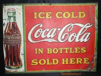 Coca-Cola In The Bottles 1930's Embossed Tin Soda Vintage Sign 26 1/2