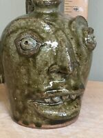 Primitive Face Jug, Local Clay, Wood Fired, Michel Bayne