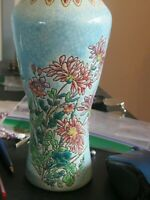 Art Deco French Vase Faience EMAUX de LONGWY Enameled Majolica  Floral 7 inch
