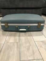 Blue VINTAGE 1960's Airway Hard-sided Suitcases Very Nice Unique Locks With key