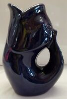 Gurgle Pot Fish Pitcher in Cobalt Blue Perfect Clean Pre Owned Condition