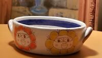 Signed Desimone Italy Mid Century Modern Art Pottery Serving Bowl w Recipe MCM
