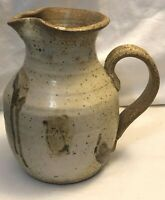 POTTERY HAND MADE CLAY PITCHER TAN W/ BROWN DRIPS AND SPECKLES LARGE 8