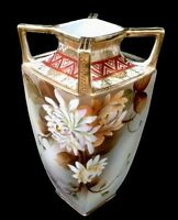 RARE IMPERIAL NIPPON GORGEOUS 4 HANDLED OLD ROSES VASE URN