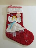 POTTERY BARN KIDS HOLIDAY CHRISTMAS QUILTED STOCKING ANGEL NEW