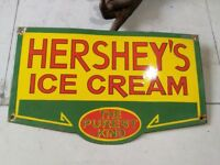 Porcelain HERSHEY'S ICE CREAM Sign SIZE 12