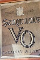 Vintage SEAGRAM'S VO Canadian Whiskey Antiqued Smoky MIRROR GLASS SIGN 18x22