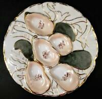 Antique Green TURKEY 5 well OYSTER PLATE - Gold Ribbons - Made in GERMANY