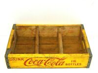 VINTAGE COCA COLA YELLOW WOODEN BOX CRATE CASE BOTTLE CARRIER (18
