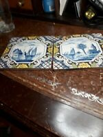 CHARMING OLD DELFT TILE WITH ships DESIGN x2 some glaze cracks and chips