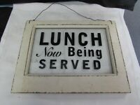 Lunch Now Being Served VTG restaurant glass/wood SIGN window diner advertising
