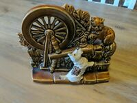 Vintage McCoy Pottery Planter Spinning Wheel with Cat and Dog Scottie. Free sh