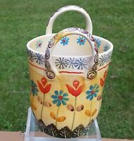 Vintage Ceramic Basket with Flowers made in Italy Bright Colors 8