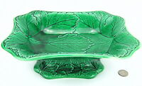 Antique Wedgwood Green Majolica Cabbage Leaf Footed Fruit Bowl