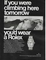 1967 Rolex Chronometer Watch 'If you climbing here tomorrow' vintage print Ad