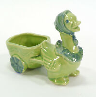 Vintage Shawnee Green Mother Goose & Cart Pottery Mini Planter - USA - #752