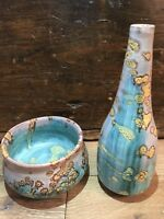 Fantoni Italy Lava Glaze Vase and Bowl Pottery Ceramic