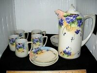 Antique Nippon Chocolate Set Pitcher and 5 cups and saucers Beautiful!!