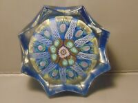 Vintage Millefiori Cane Paperweight Blue Scalloped Edge