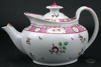 Antique Staffordshire Hand Painted Creamware or Pearlware Salopian Shape Teapot