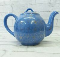Hall Pottery Ball Teapot 12 Cup French Flower Blue Gold Floral Pansy 045