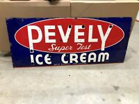 ORIGINAL Early NEON Porcelain PEVELY ICE CREAM Sign Skin Vintage Old Antique