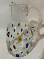 Leonardo Millefiori Large Italian Glass Pitcher over 9
