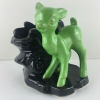 Vintage Shawnee Succulent Small Plant Planter Baby Deer USA Pottery Black Green