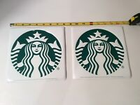 """2 Metal Starbuck's Coffee Signs 8"""" Square"""