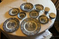 Vintage LIBERTY BLUE Staffordshire ~10 PC Setting~Plates,Mugs,Saucers,Bowls,ETC.