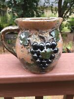 Hard to Find Jack & Jessie Meaders Georgia Folk Art Pottery Pitcher with Grapes
