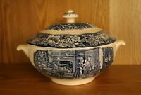Vintage LIBERTY BLUE Staffordshire ~ SOUP TUREEN WITH COVER