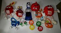Lot Of 14 M&m's Stuff Toys gumball machine candy dish tins xmas easter plushes