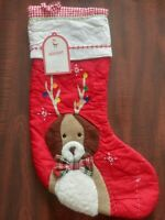 Pottery Barn Kids DOG WITH ANTLERS Christmas Quilted Stocking NO MONO Sold Out