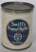 RARE VINTAGE 12 OUNCE SWIFT'S PEANUT BUTTER ADVEERTISING TIN WITH LID