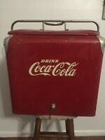 VINTAGE COCA COLA COOLER RED WITH LID  PROGRESS REFRIGERATOR CO. LOUISVILLE KY