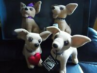 Taco Bell Chihuahua Dogs Lot of 4 Plush 2000 Vintage Collectibles *Sound Works*