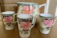 ANTIQUE- TE-OH NIPPON pitcher & 3 cups HANDPAINTED  Pink Flowers. (1891- 1921)