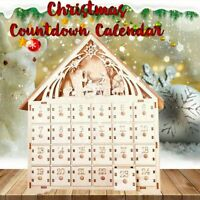 Wooden Advent Calendar Countdown Christmas Party 24 Pull-Out Drawers LED Light