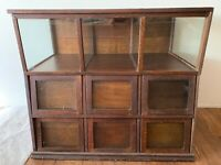 Large Antique Country Store Display Cabinet -Glass Facade Drawers/Glass Top Half