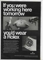 1969 Rolex Submariner Watch If You Were Working Deepstar Sub Vintage Print Ad