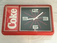 Vintage Coca-Cola Enjoy Coke Plastic Wall Clock Sign Display Black Red WORKING