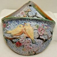 L@@K!  1920'S WELLER GLENDALE WALL POCKET w/BIRDS 7-1/2 INCHES TALL NO RESERVE