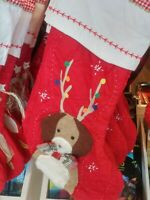 Pottery Barn Kids DOG WITH ANTLERS Christmas Quilted Stocking NO MONO New