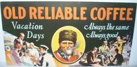 RARE ANTIQUE ORIGINAL OLD RELIABLE COFFEE SIGN TROLLEY BUS PAPER ADVERTISING USA