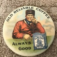 """Advertising Pocket. Mirror """"Old Reliable Coffee""""  Great Color, 2"""" W"""
