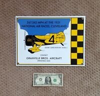 OLD GEE BEE Z GRANVILLE BROS. AERO AVIATION PORCELAIN GAS PUMP SIGN AIRPLANE